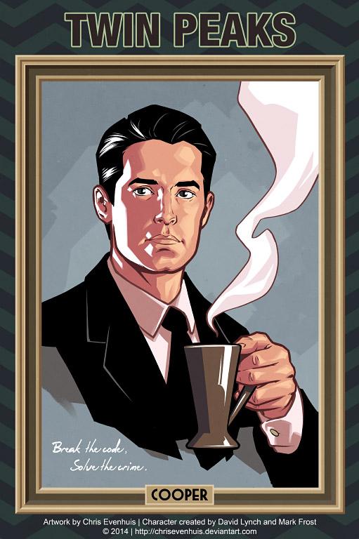 Дейл Купер портрет в стиле комиксов