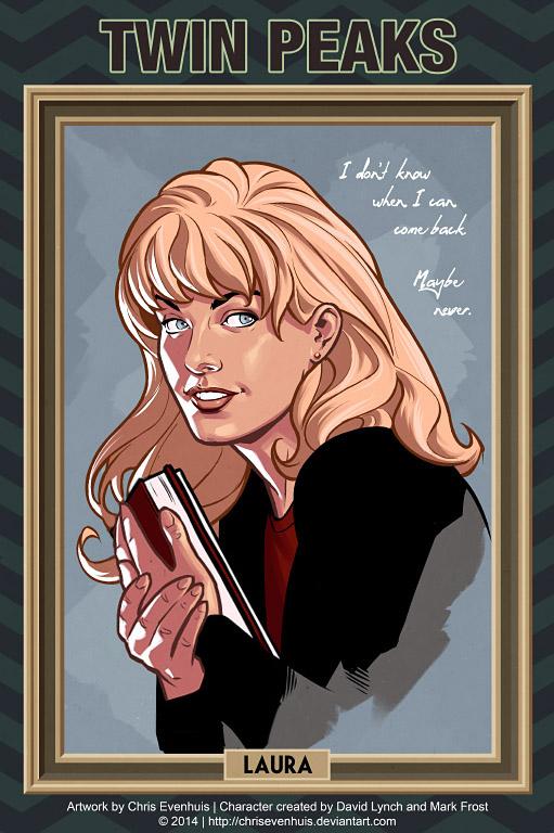 Лора Палмер портрет в стиле комиксов