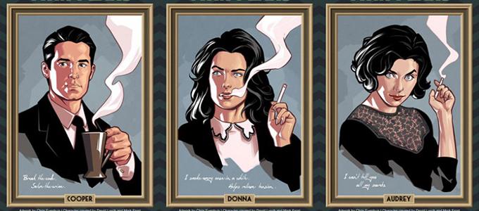 Портреты персонажей Твин Пикс в стиле комиксов