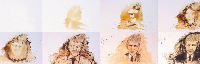 Портрет Дэвида Линча сделанный из кофе
