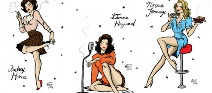 Дамы из Твин Пикс в винтажном стиле пин-ап