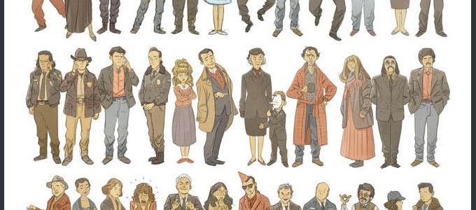 60 персонажей Твин Пикс в одном рисунке